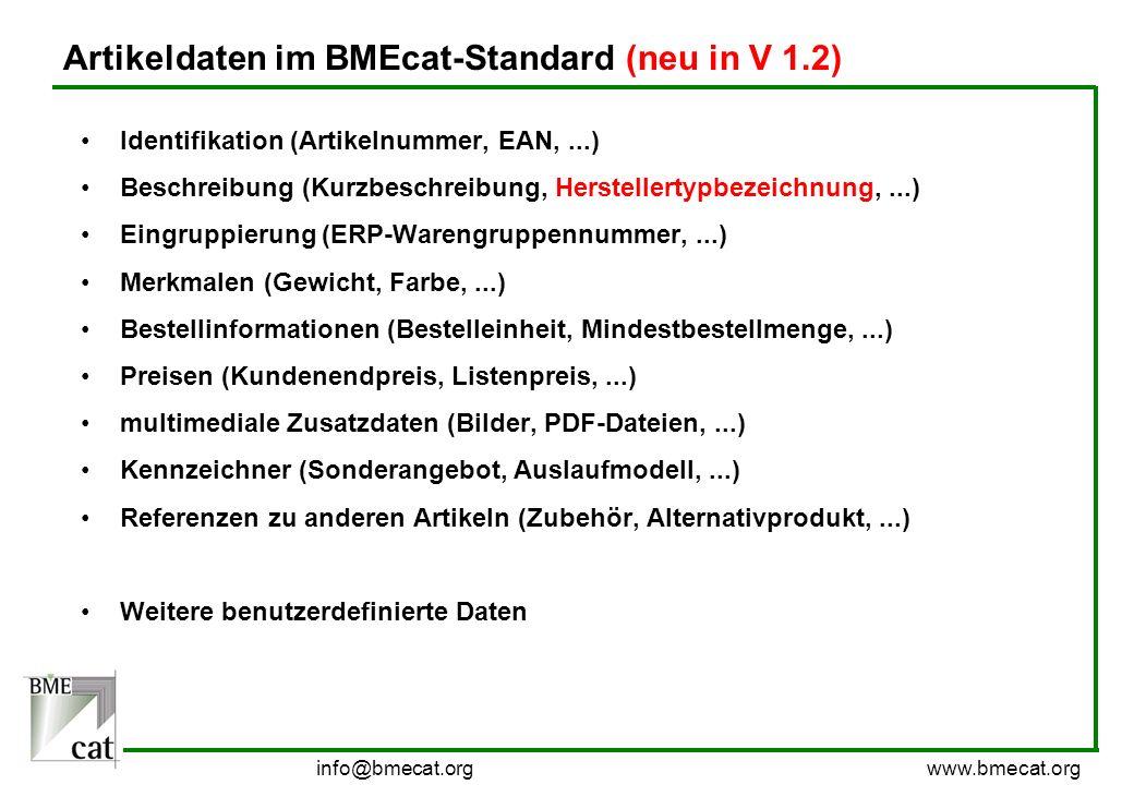 Artikeldaten im BMEcat-Standard (neu in V 1.2)