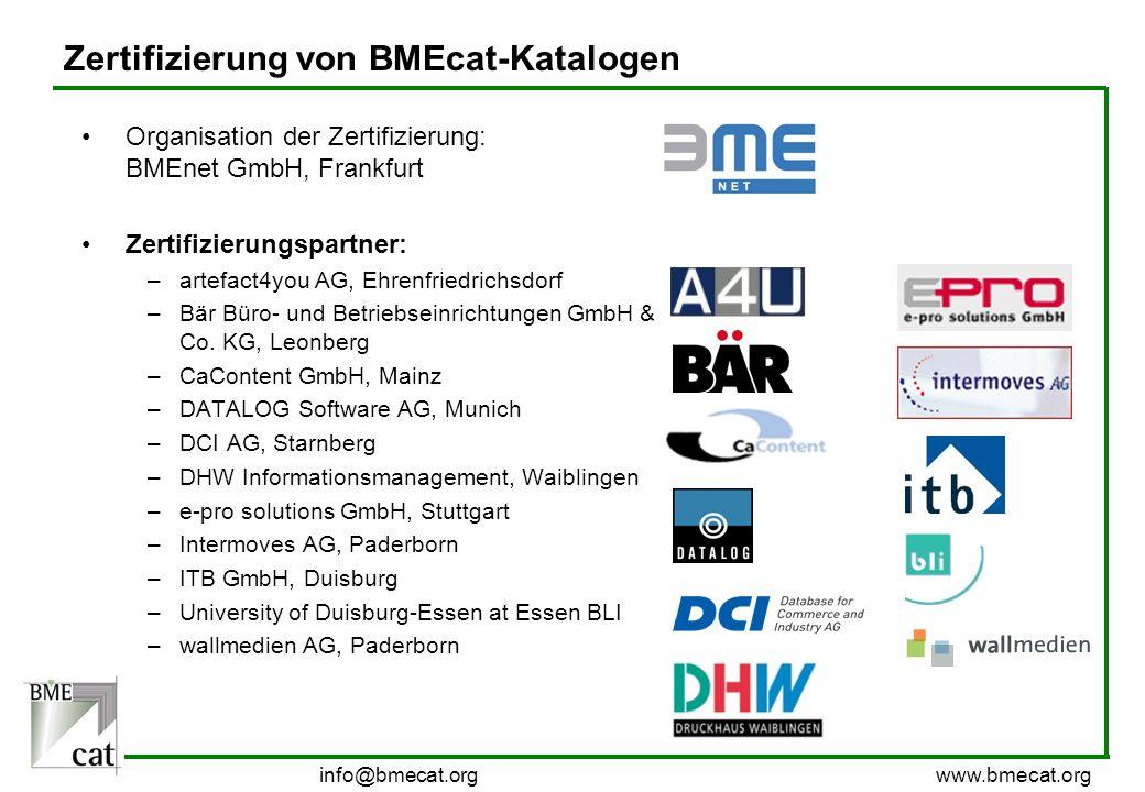 Zertifizierung von BMEcat-Katalogen