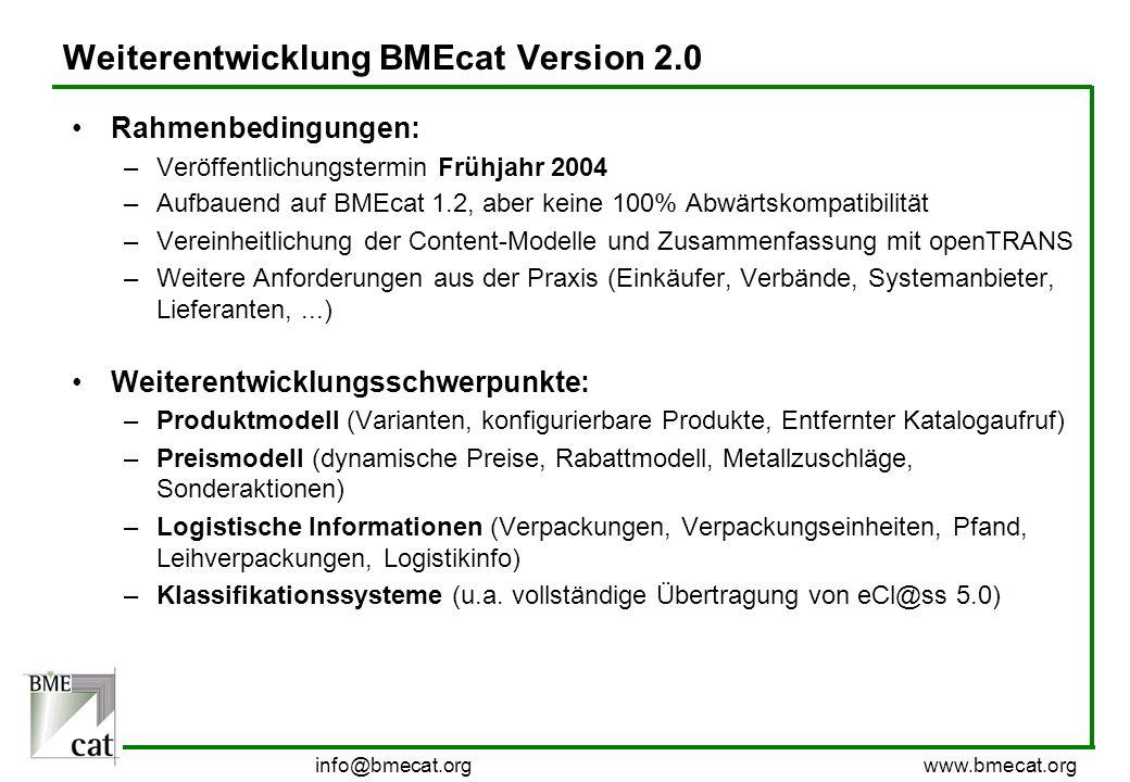 Weiterentwicklung BMEcat Version 2.0