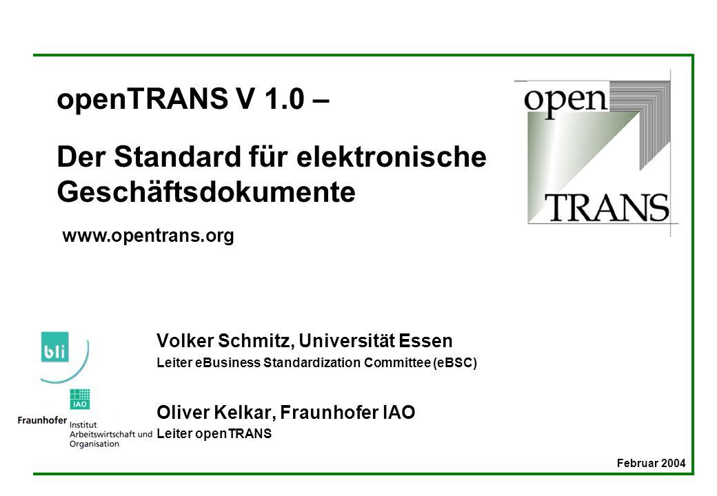 openTRANS V 1.0 – Der Standard für elektronische Geschäftsdokumente