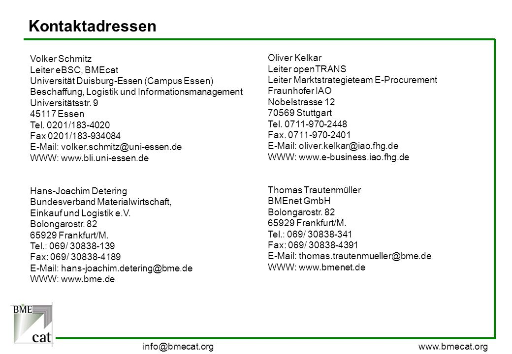 Kontaktadressen Volker Schmitz Oliver Kelkar