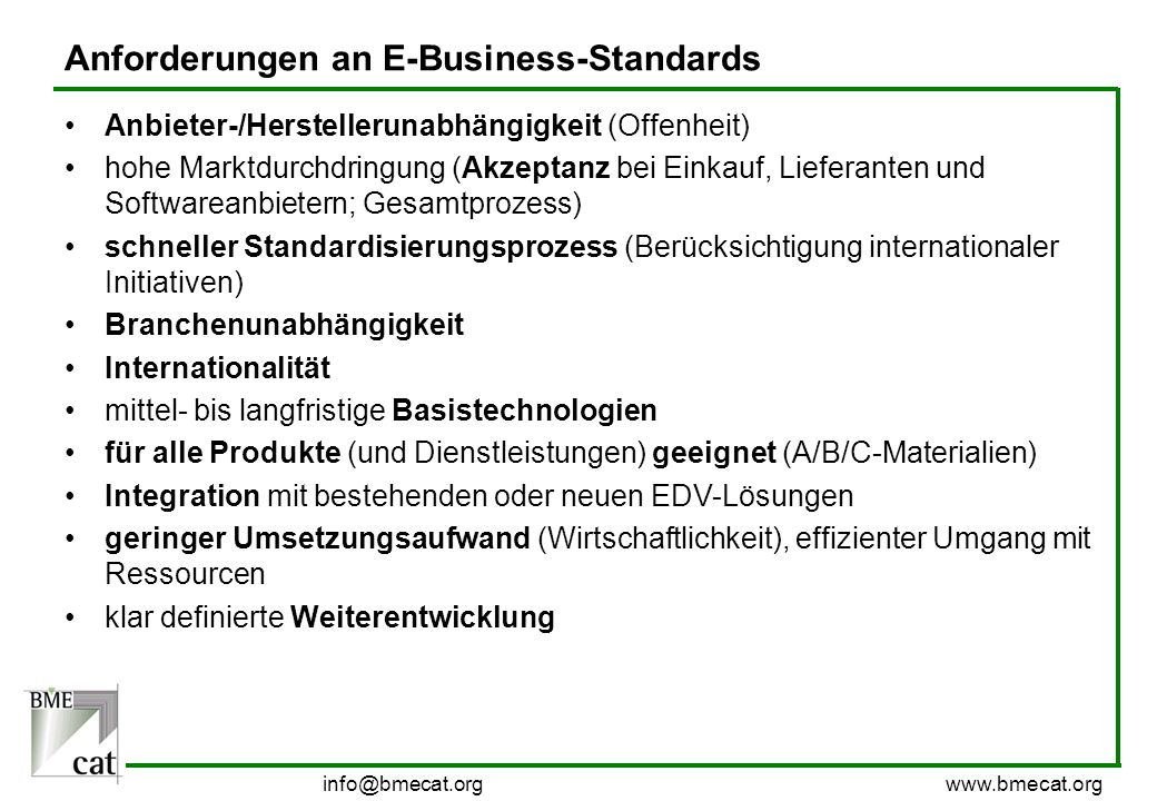 Anforderungen an E-Business-Standards