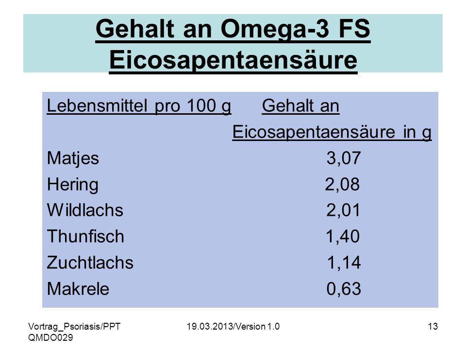 Gehalt an Omega-3 FS Eicosapentaensäure