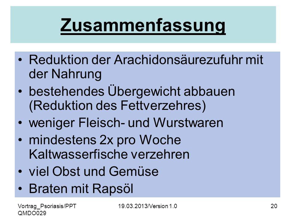 Zusammenfassung Reduktion der Arachidonsäurezufuhr mit der Nahrung