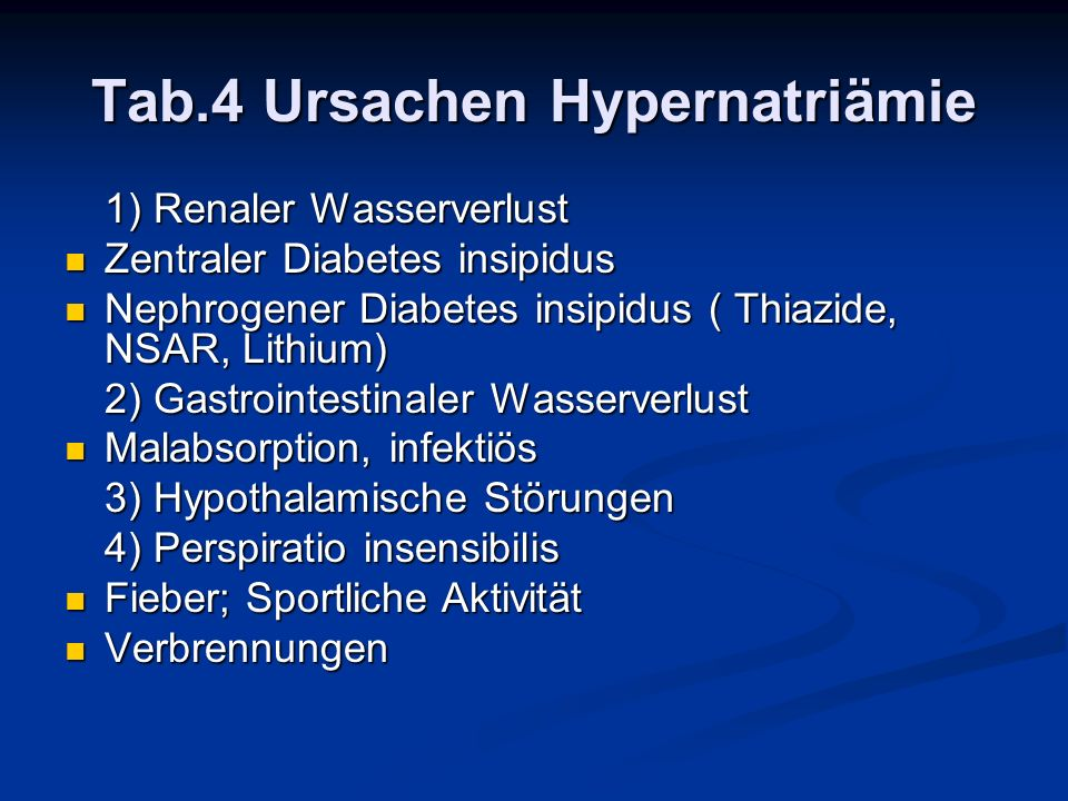 Tab.4 Ursachen Hypernatriämie