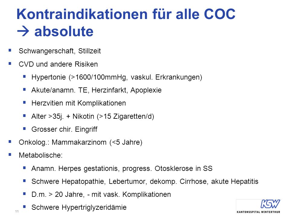 Kontraindikationen für alle COC  absolute