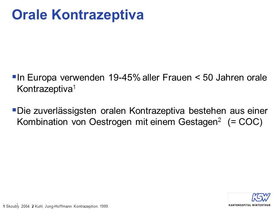 Orale Kontrazeptiva In Europa verwenden 19-45% aller Frauen < 50 Jahren orale Kontrazeptiva1.