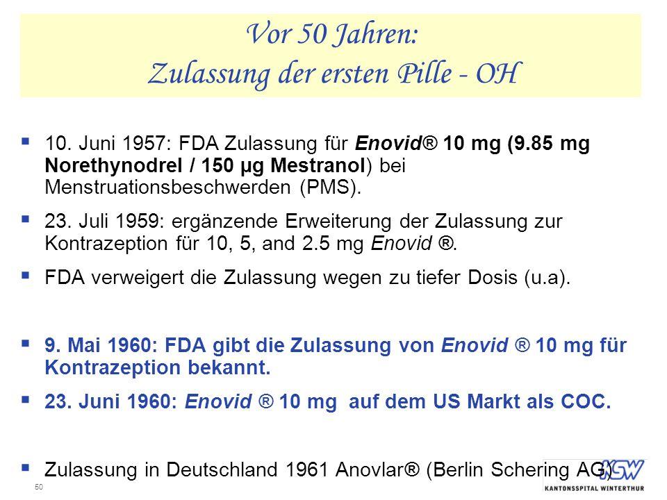 Vor 50 Jahren: Zulassung der ersten Pille - OH
