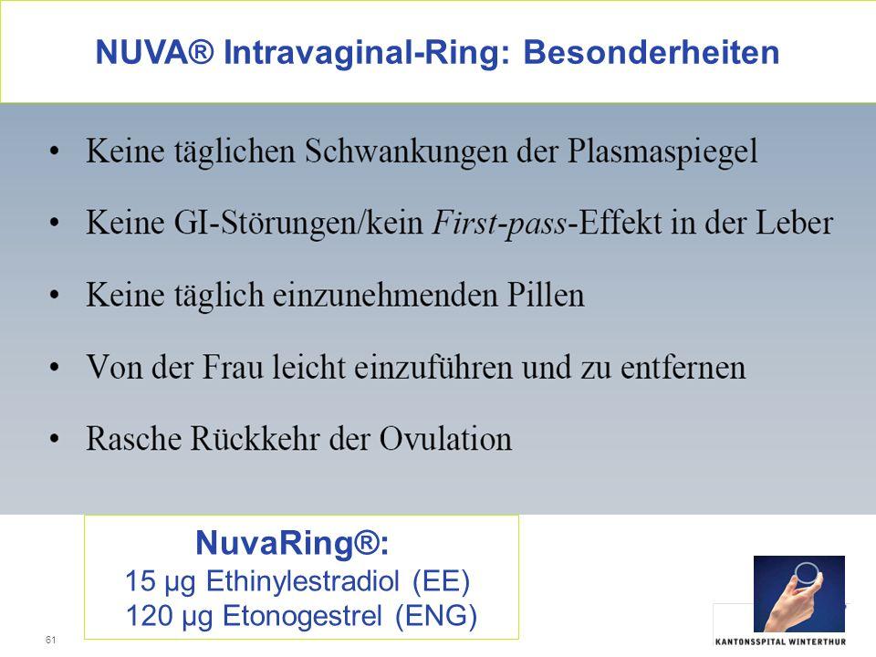 NUVA® Intravaginal-Ring: Besonderheiten
