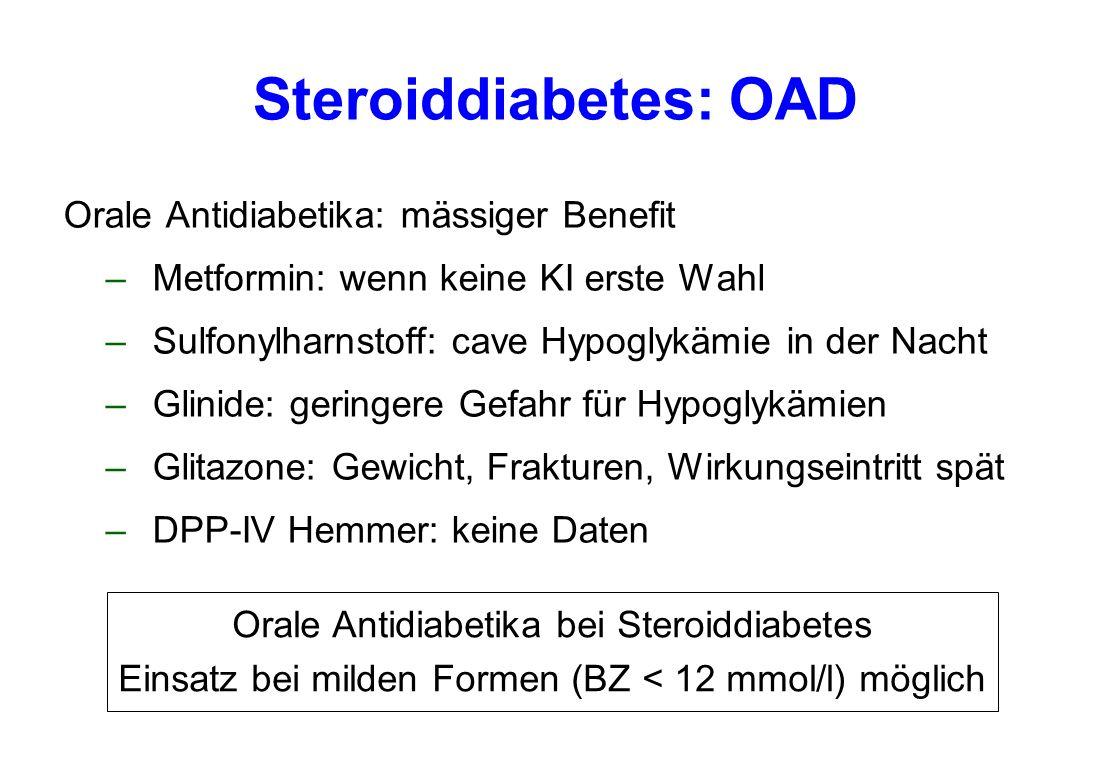 Steroiddiabetes: OAD Orale Antidiabetika: mässiger Benefit