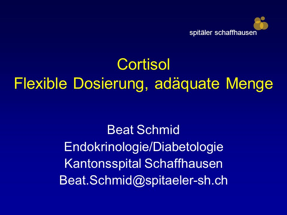 Cortisol Flexible Dosierung, adäquate Menge
