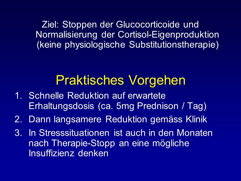 Ziel: Stoppen der Glucocorticoide und Normalisierung der Cortisol-Eigenproduktion (keine physiologische Substitutionstherapie)