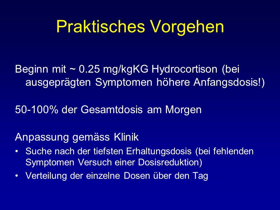 Praktisches Vorgehen Beginn mit ~ 0.25 mg/kgKG Hydrocortison (bei ausgeprägten Symptomen höhere Anfangsdosis!)