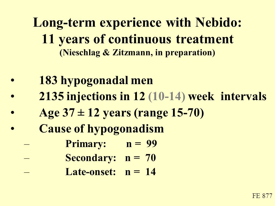 Long-term experience with Nebido: 11 years of continuous treatment (Nieschlag & Zitzmann, in preparation)