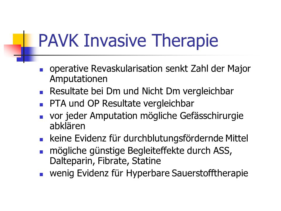 PAVK Invasive Therapie