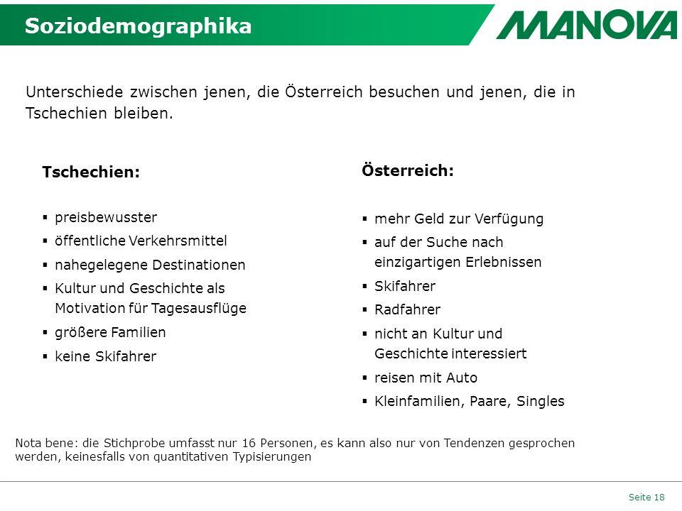 Soziodemographika Unterschiede zwischen jenen, die Österreich besuchen und jenen, die in Tschechien bleiben.