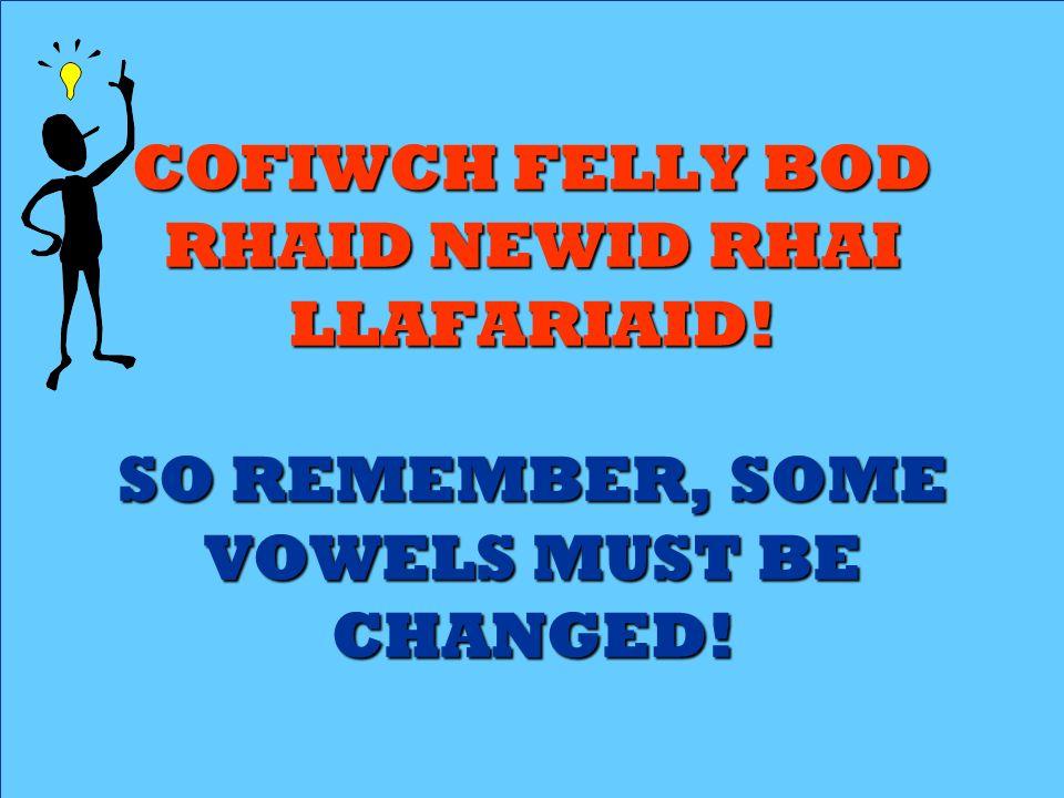 COFIWCH FELLY BOD RHAID NEWID RHAI LLAFARIAID
