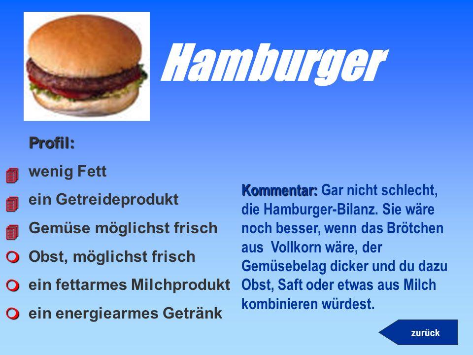 Hamburger Profil: wenig Fett ein Getreideprodukt 