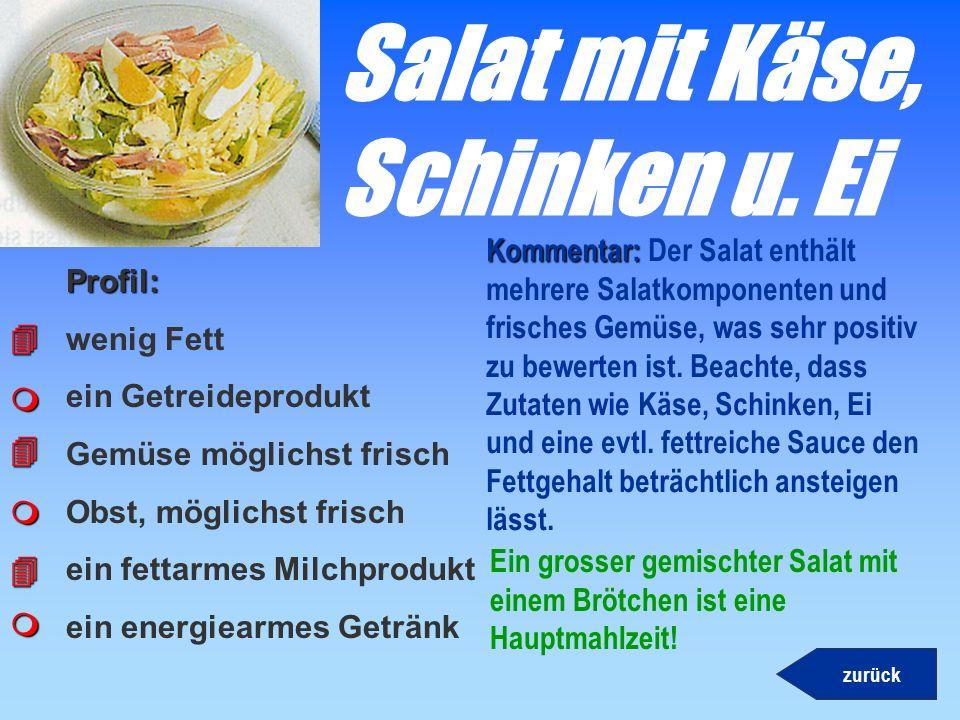Salat mit Käse, Schinken u. Ei