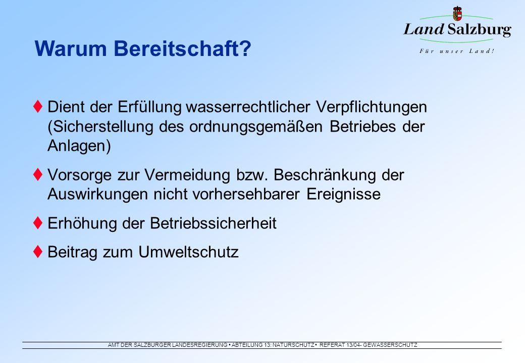 Warum Bereitschaft Dient der Erfüllung wasserrechtlicher Verpflichtungen (Sicherstellung des ordnungsgemäßen Betriebes der Anlagen)
