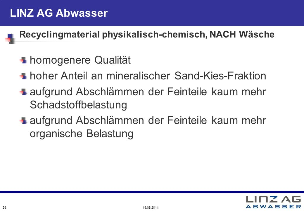 Recyclingmaterial physikalisch-chemisch, NACH Wäsche