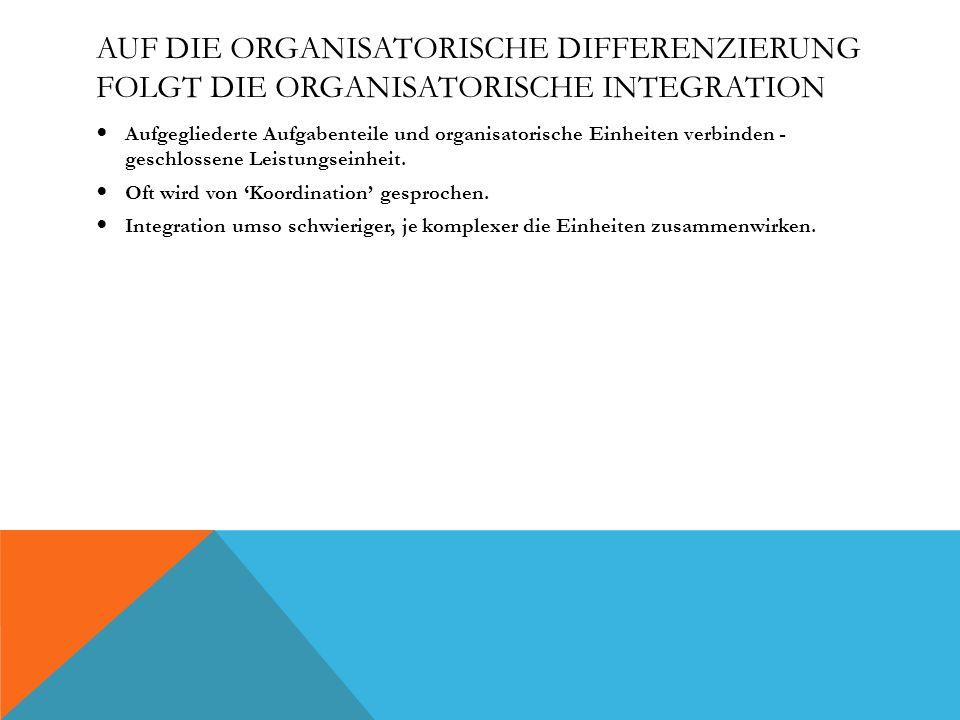 Auf die organisatorische Differenzierung folgt die organisatorische Integration
