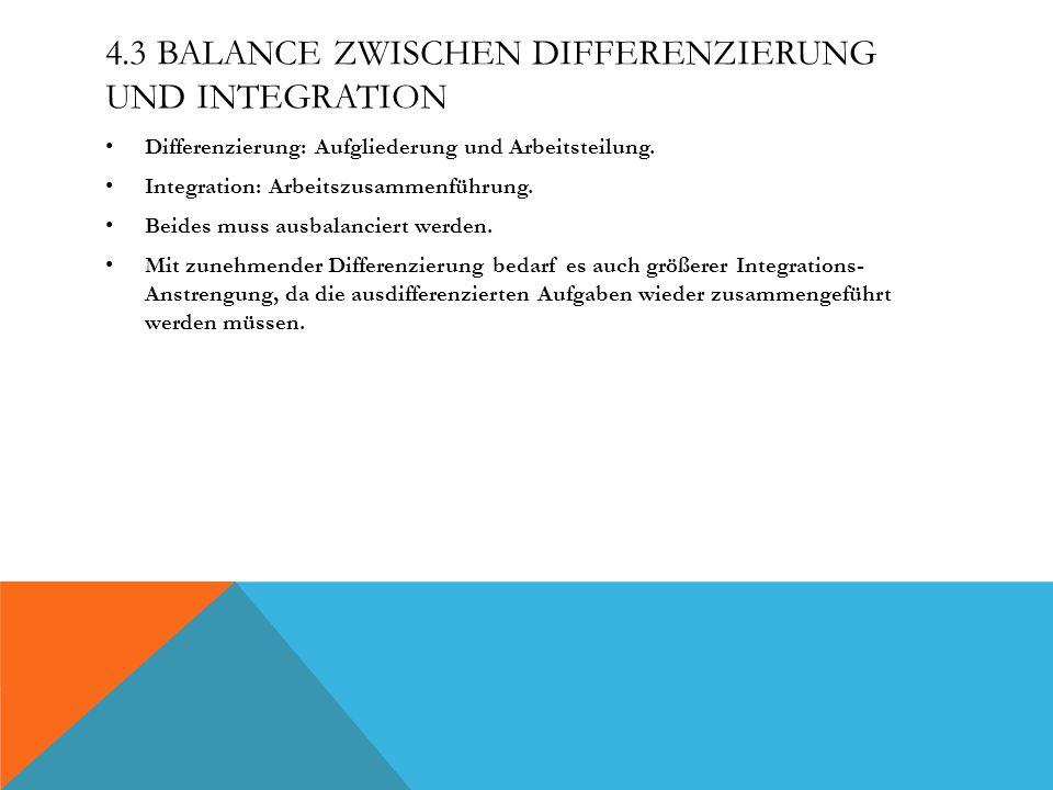 4.3 Balance zwischen Differenzierung und Integration