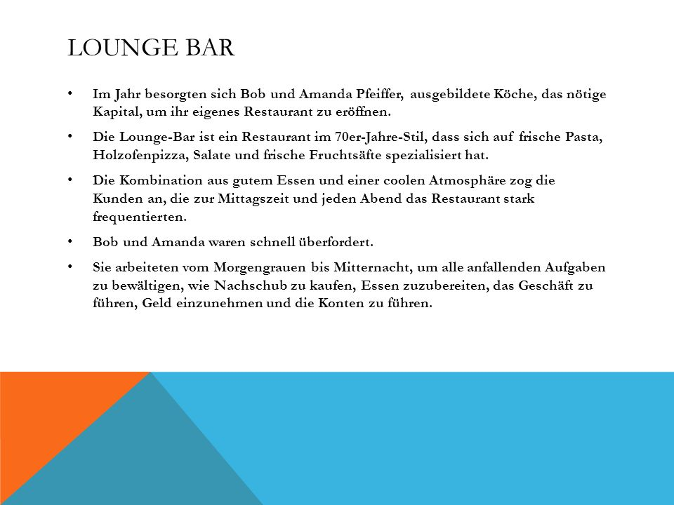 Lounge Bar Im Jahr besorgten sich Bob und Amanda Pfeiffer, ausgebildete Köche, das nötige Kapital, um ihr eigenes Restaurant zu eröffnen.