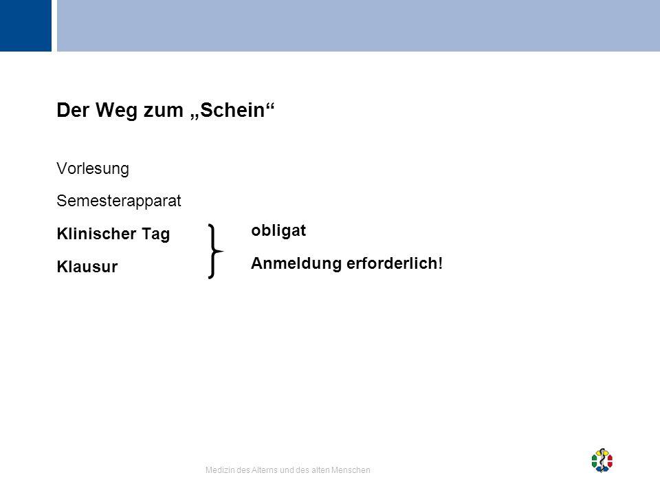 """Der Weg zum """"Schein Vorlesung Semesterapparat Klinischer Tag Klausur"""