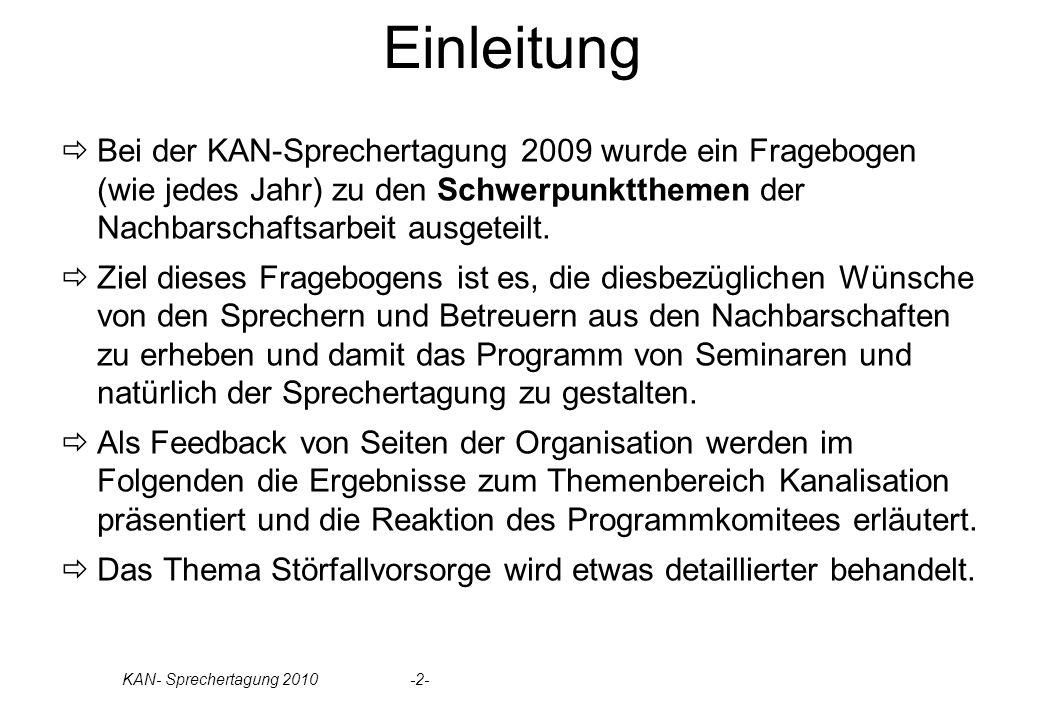 Einleitung Bei der KAN-Sprechertagung 2009 wurde ein Fragebogen (wie jedes Jahr) zu den Schwerpunktthemen der Nachbarschaftsarbeit ausgeteilt.