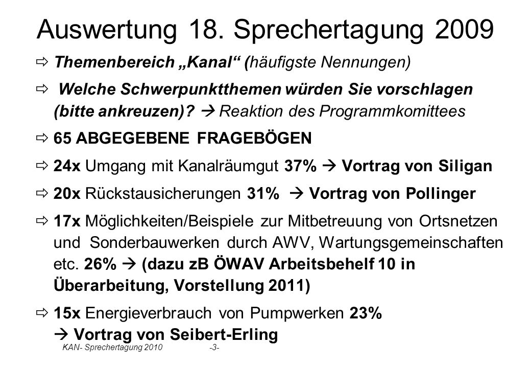 Auswertung 18. Sprechertagung 2009