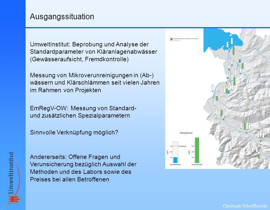 Ausgangssituation Umweltinstitut: Beprobung und Analyse der Standardparameter von Kläranlagenabwässer (Gewässeraufsicht, Fremdkontrolle)