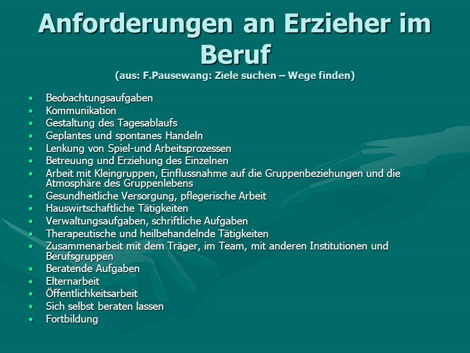 Anforderungen an Erzieher im Beruf (aus: F