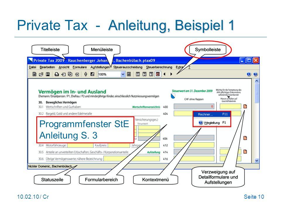Private Tax - Anleitung, Beispiel 1