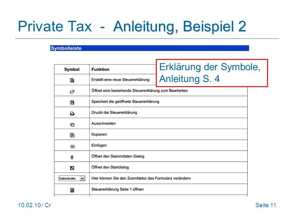 Private Tax - Anleitung, Beispiel 2