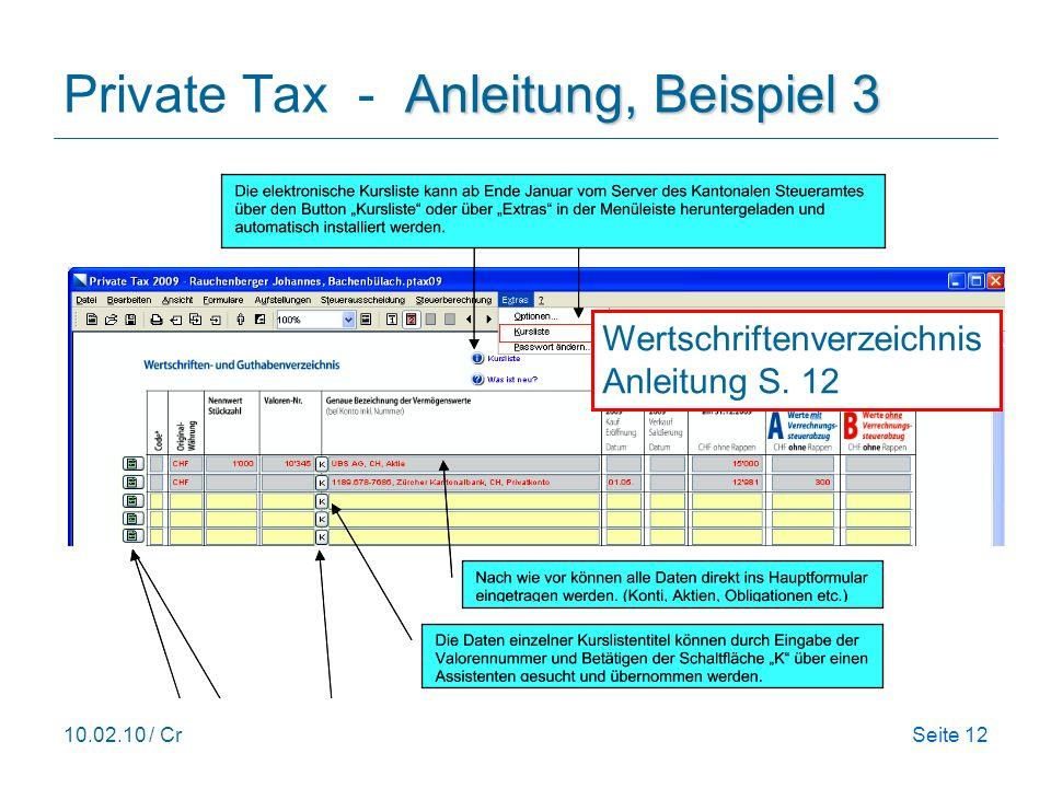 Private Tax - Anleitung, Beispiel 3