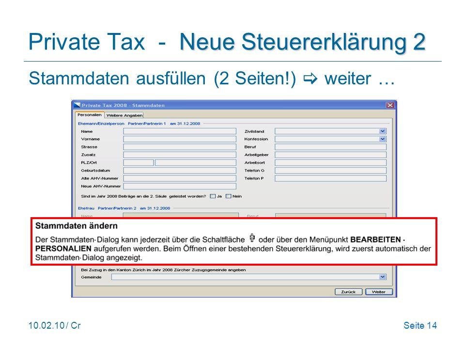Private Tax - Neue Steuererklärung 2