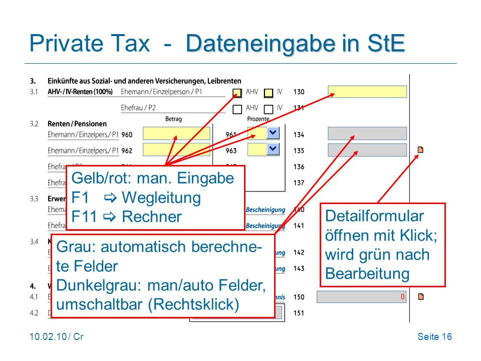 Private Tax - Dateneingabe in StE