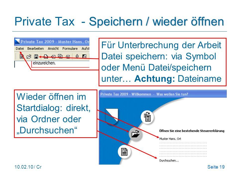Private Tax - Speichern / wieder öffnen