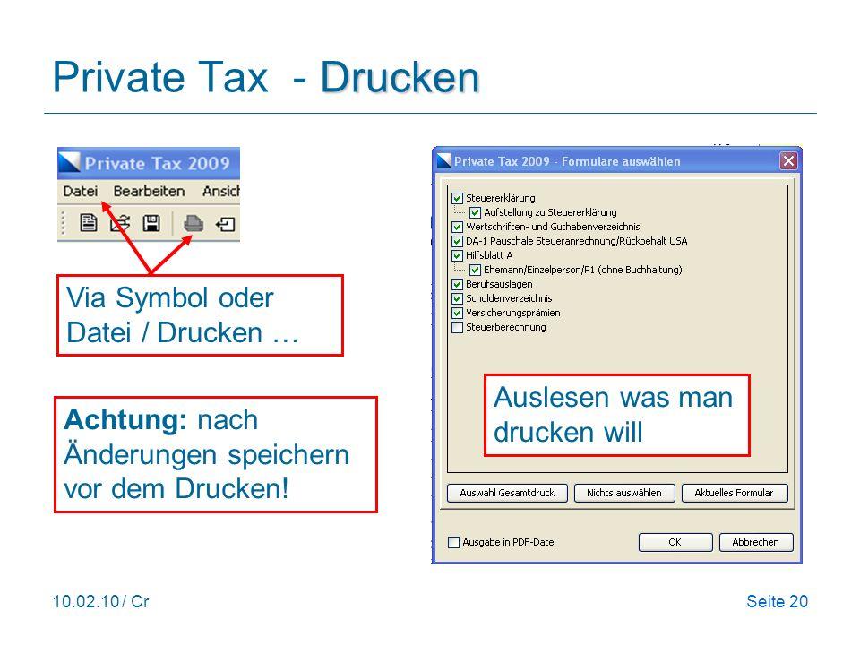 Private Tax - Drucken Via Symbol oder Datei / Drucken …