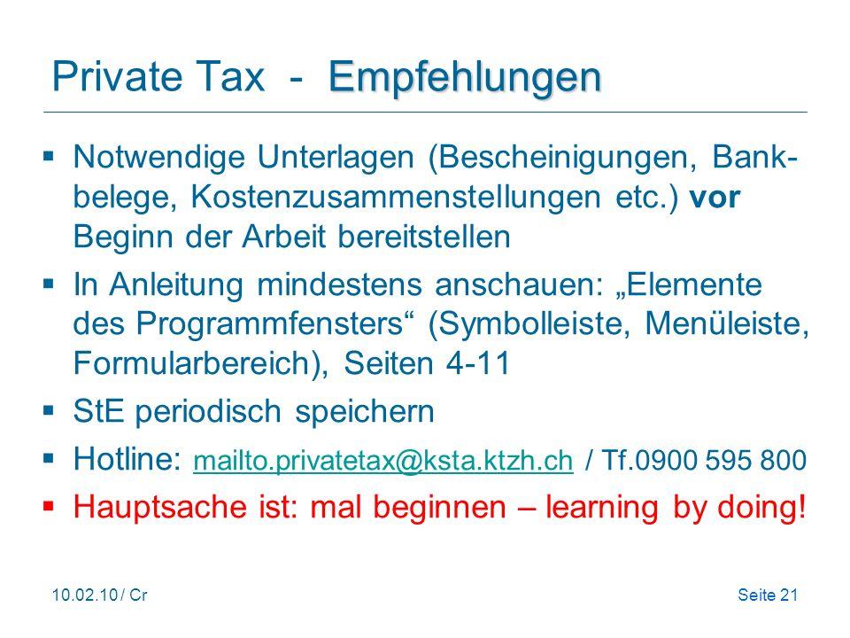 Private Tax - Empfehlungen
