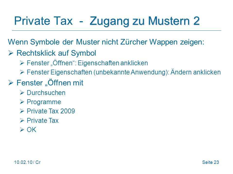 Private Tax - Zugang zu Mustern 2