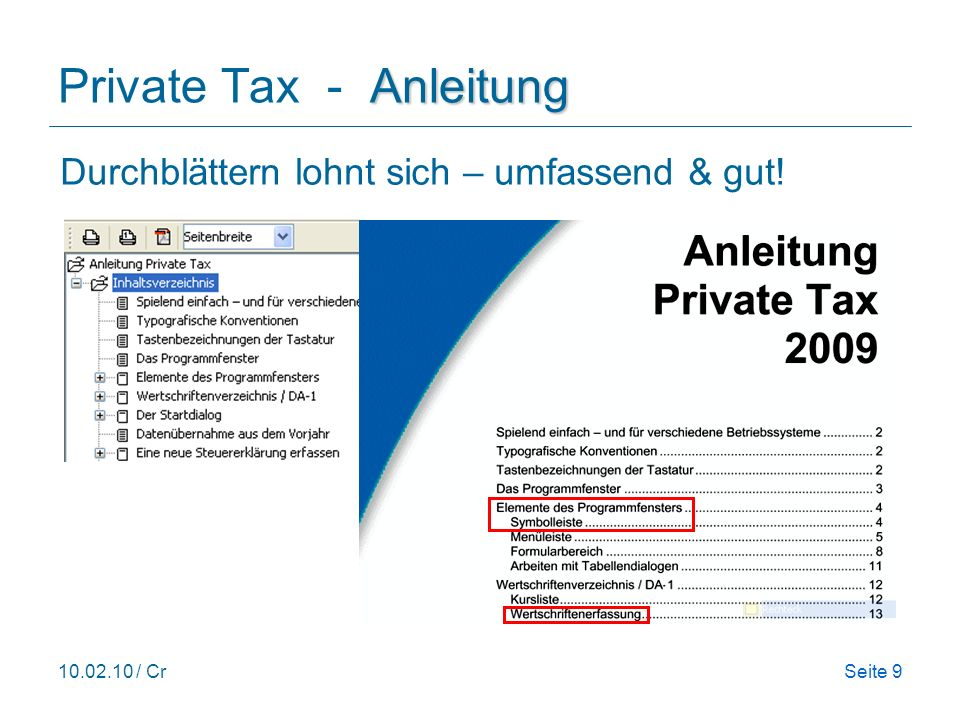 Private Tax - Anleitung