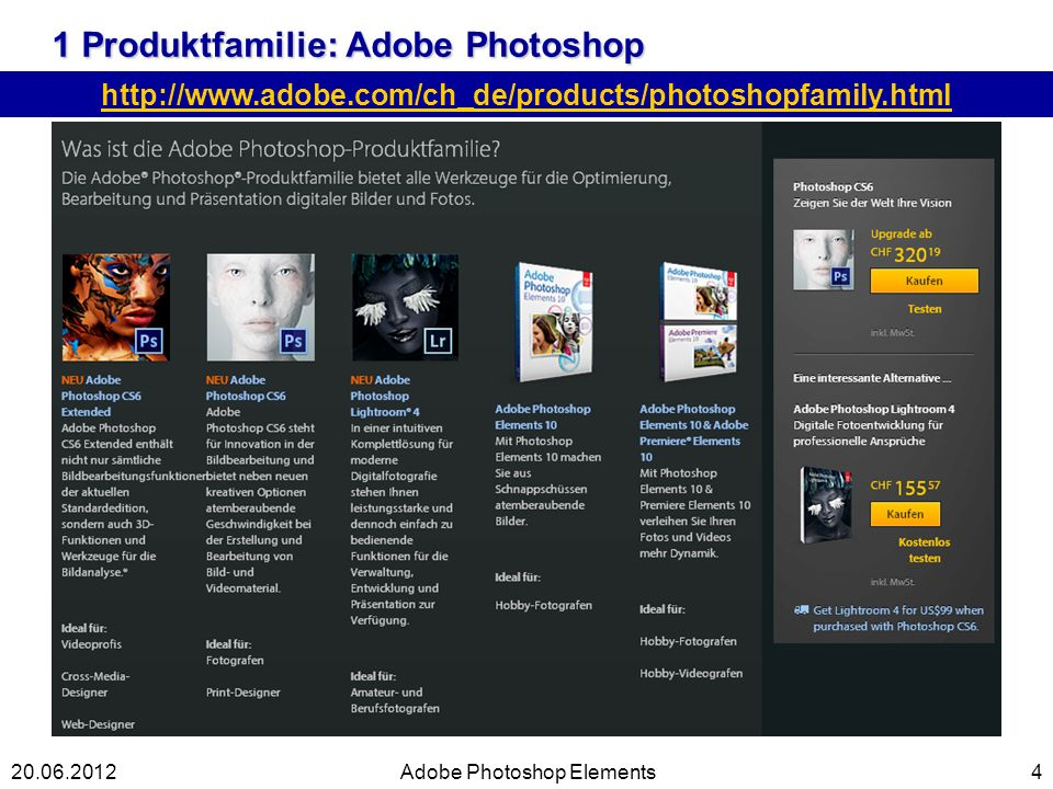 1 Produktfamilie: Adobe Photoshop