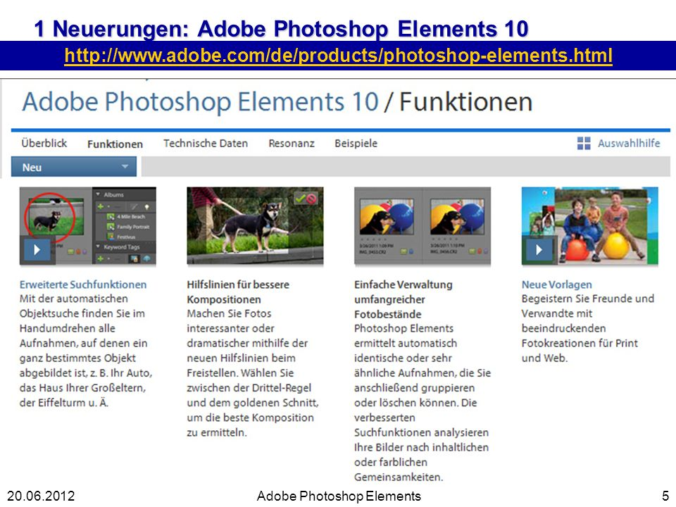 1 Neuerungen: Adobe Photoshop Elements 10