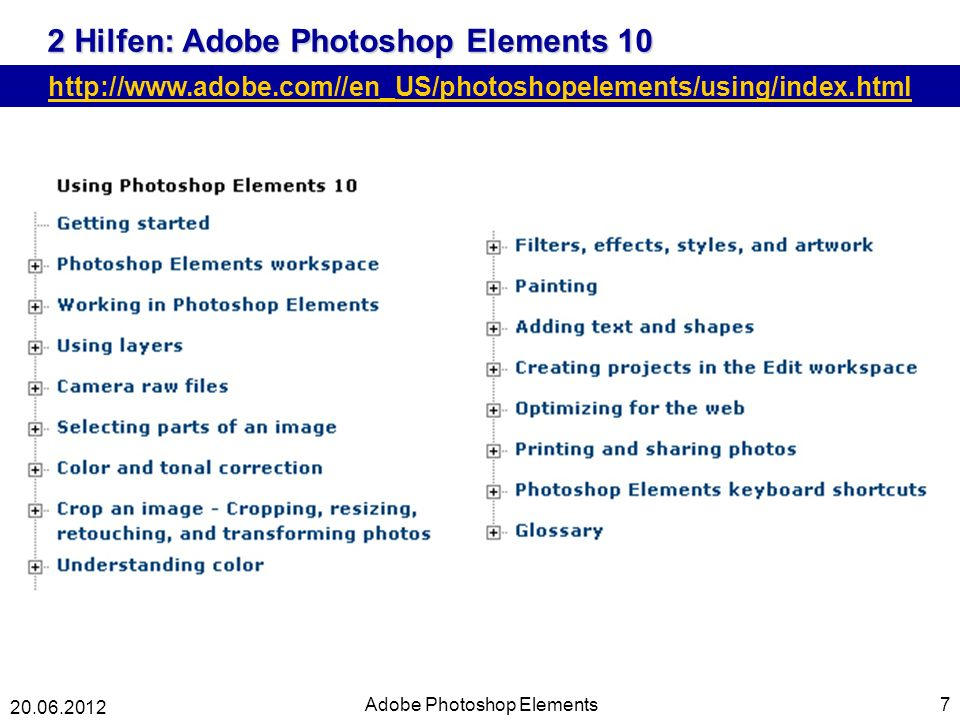 2 Hilfen: Adobe Photoshop Elements 10