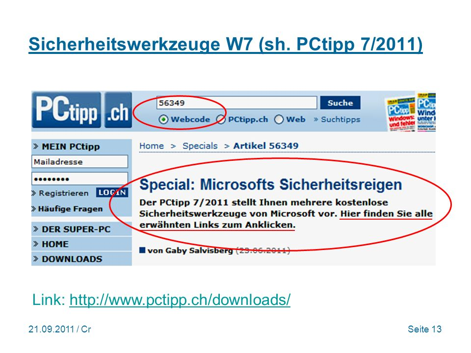 Sicherheitswerkzeuge W7 (sh. PCtipp 7/2011)