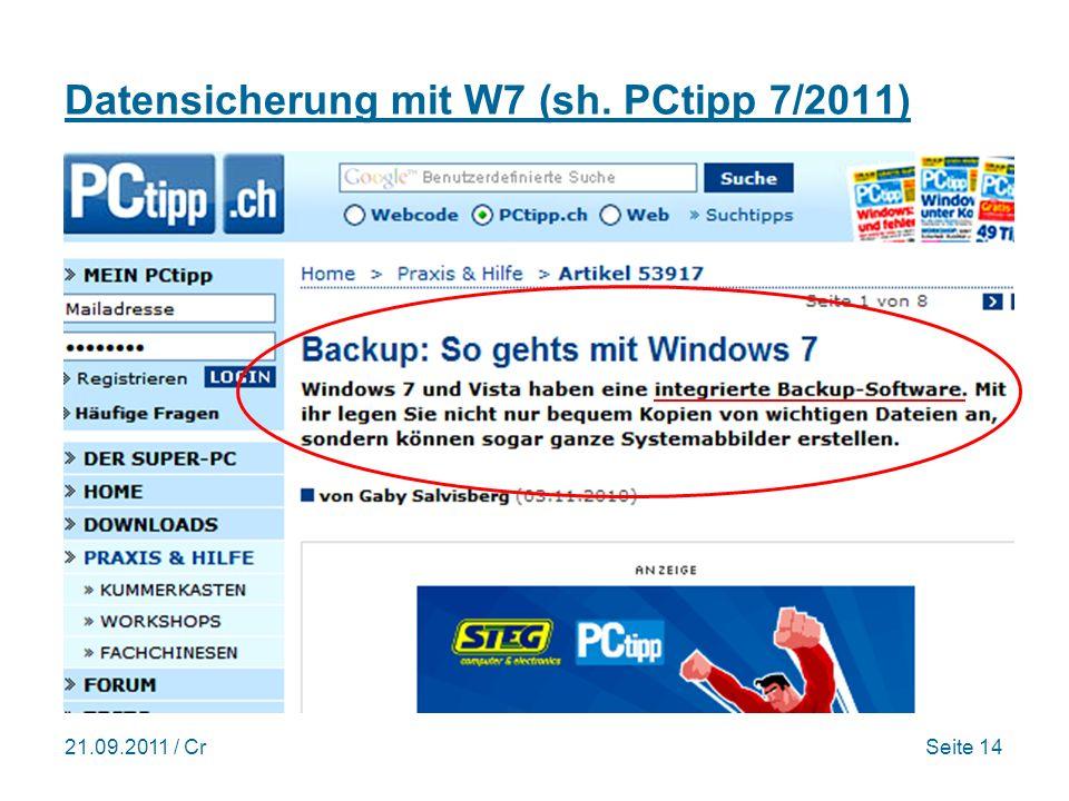 Datensicherung mit W7 (sh. PCtipp 7/2011)