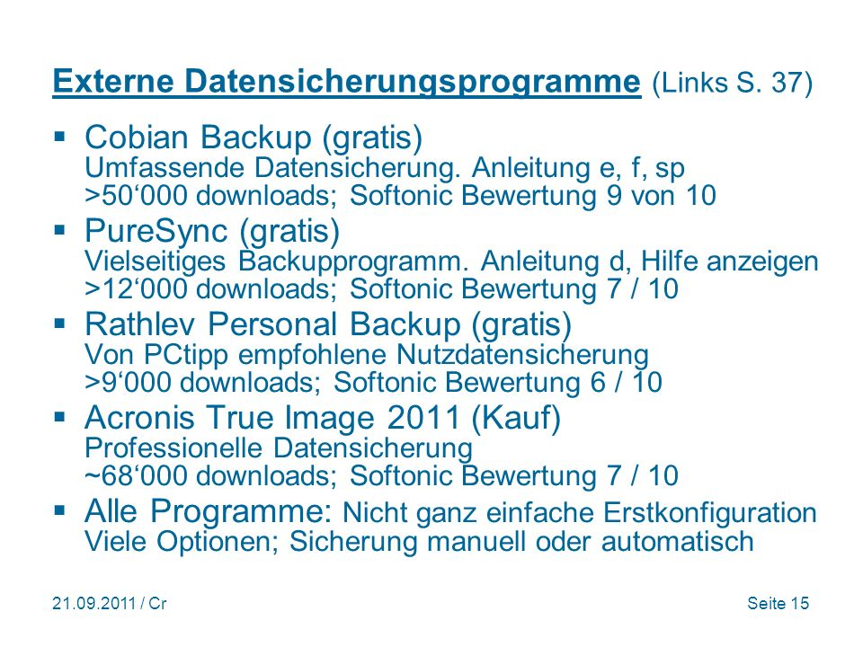 Externe Datensicherungsprogramme (Links S. 37)