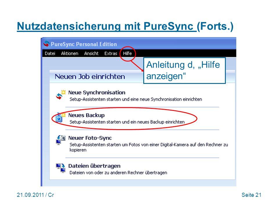 Nutzdatensicherung mit PureSync (Forts.)